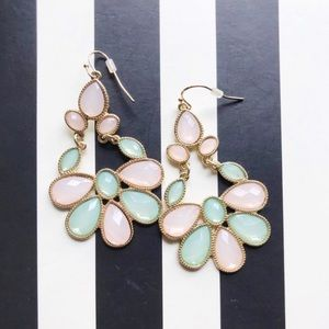 Spring Pink and Mint Pastel Statement Earrings